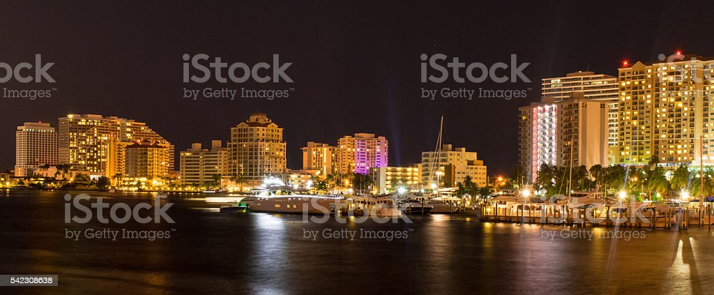 Fort Lauderdale Skyline at Night stock photo