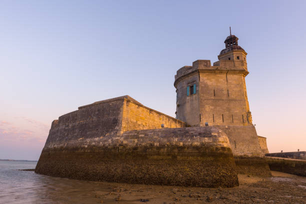 Fort Louvois at low tide, Charente-Maritime, France stock photo