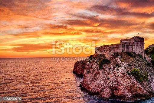 Saint Lawrence Fortress on the orange sunset in Dubrovnik