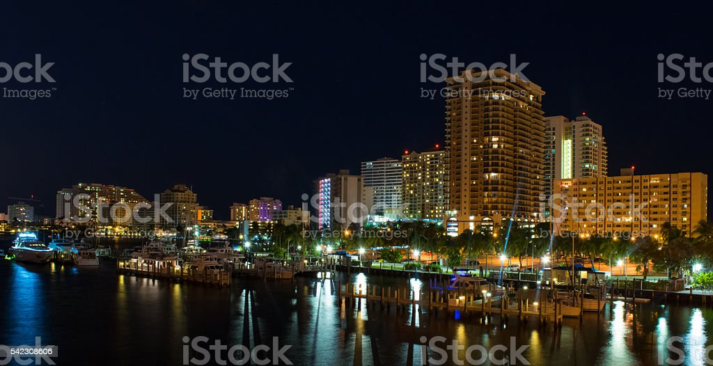 Fort Luaderdale at Night stock photo