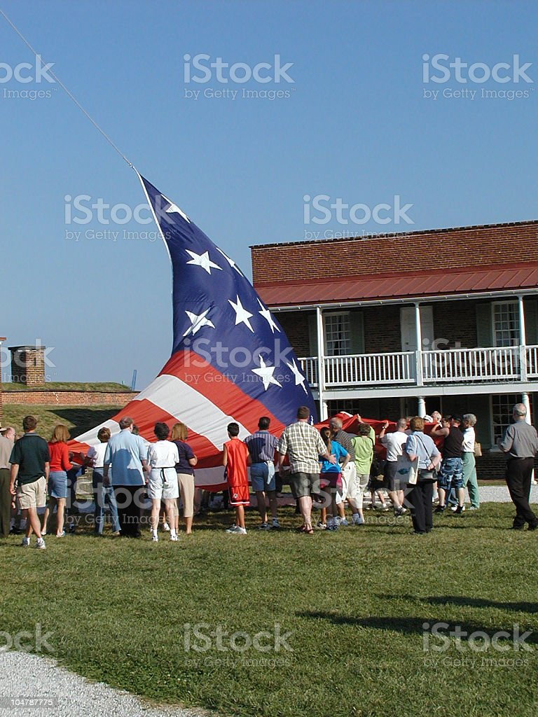 Fort McHenry Flag Lowering stock photo