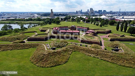 Ft McHenry seen from above. Aerial images of the famous site