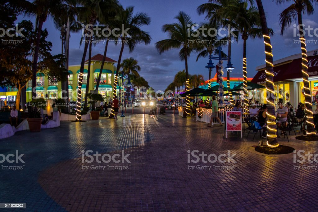 Fort Meyers Beach blue hour stock photo
