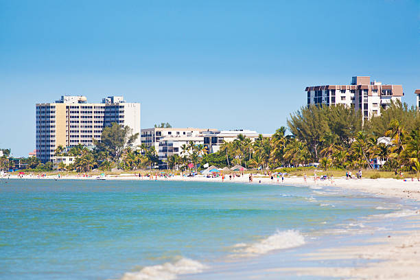 Fort Meyers Beach of Florida with Resort Hotels and Toruist stock photo
