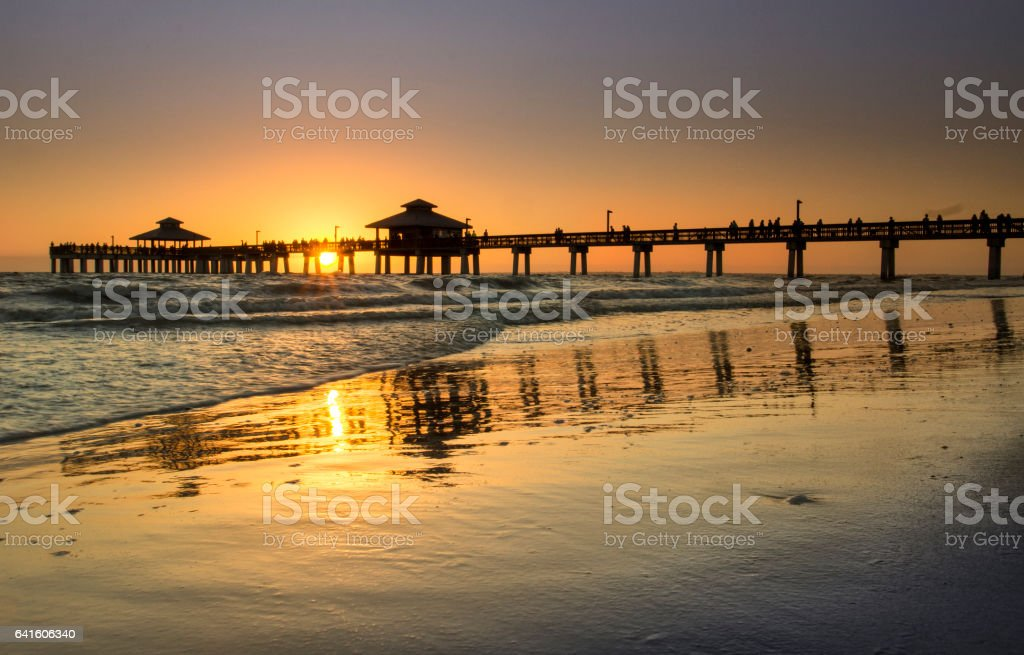 Fort Meyers Beach Sunset stock photo