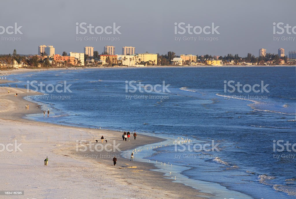 Fort Myers Beach at Sunset stock photo