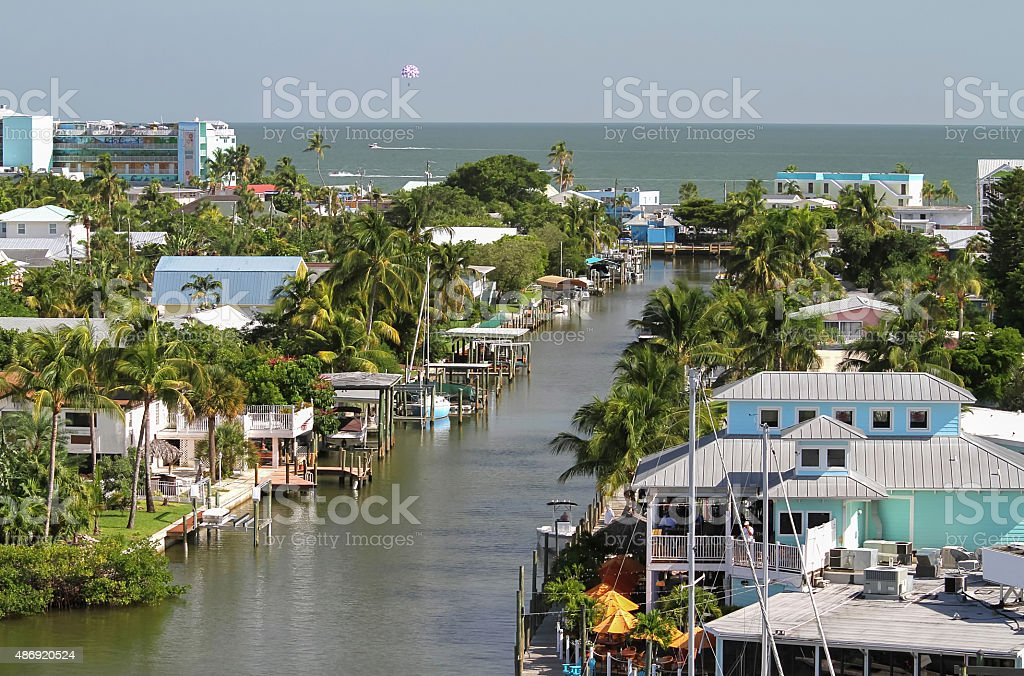 Fort Myers Beach downtown beach area stock photo