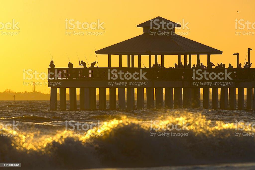 Fort Myers Beach Fishing Pier stock photo