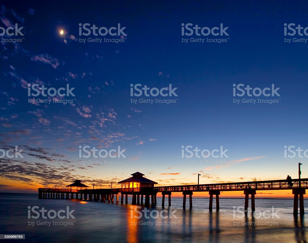 Fort Myers Beach Pier at Dusk 1 stock photo