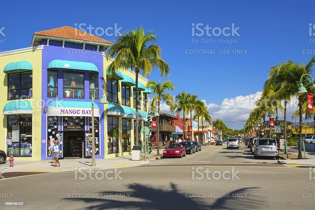 Fort Myers Beach Shopping District, Florida stock photo