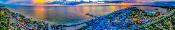Fort Myers Beach Sunset Aerial Looking West, FL stock photo