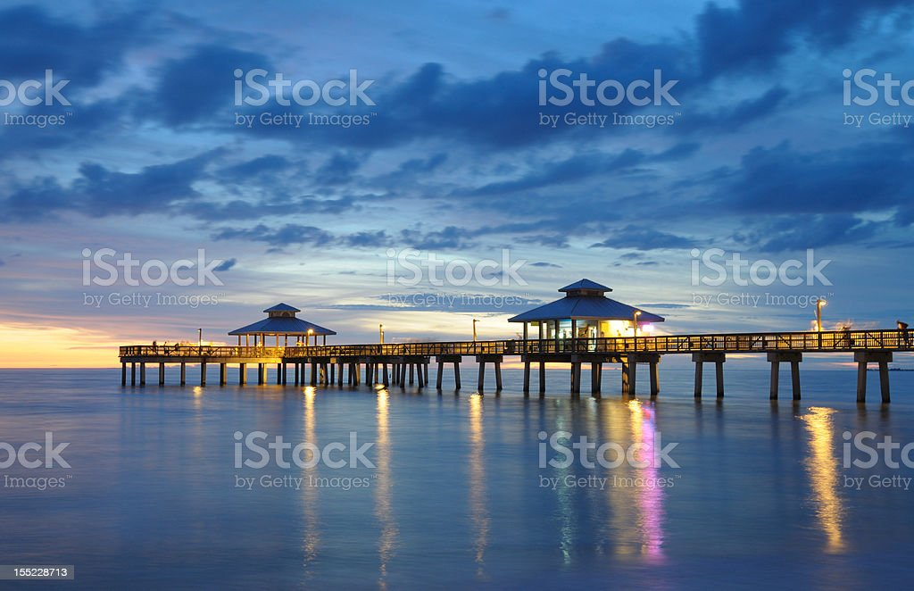 Fort Myers Pier at Dusk royalty-free stock photo