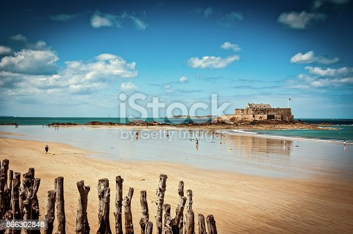 A View of Fort National from the beach in Saint Malo, Brittany, France