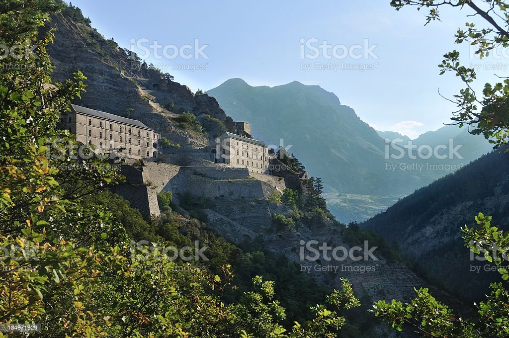 Fort near the village of Saint Paul sur Ubaye, France royalty-free stock photo