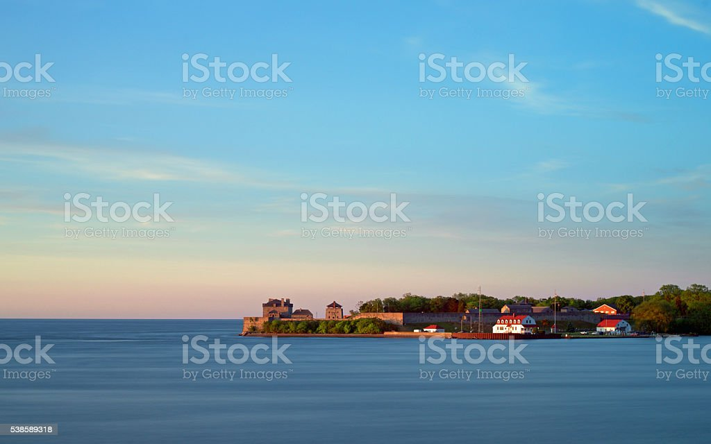 Fort Niagara at sunset from across the Niagara River stock photo
