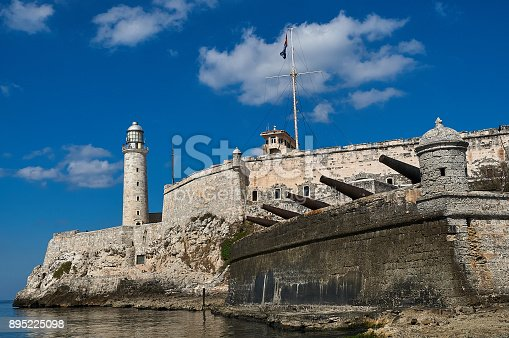 Fort of Havana at the entrance of the port with the lighthouse. Cuba