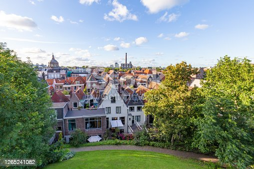 Scenic view from the historic fort of Leiden on top of a small hill in Leiden in the Netherlands, Europe