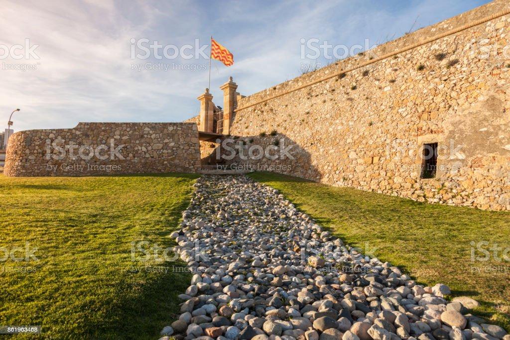 Fort of Sant Jordi in Tarragona seen at sunset stock photo