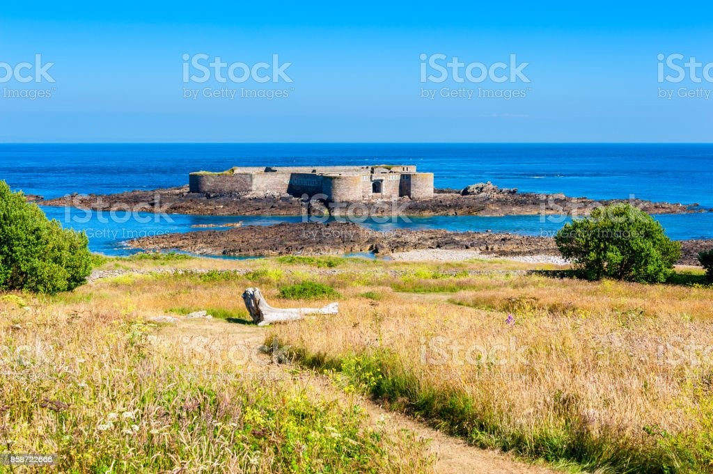 Fort Off The Coast of Alderney stock photo