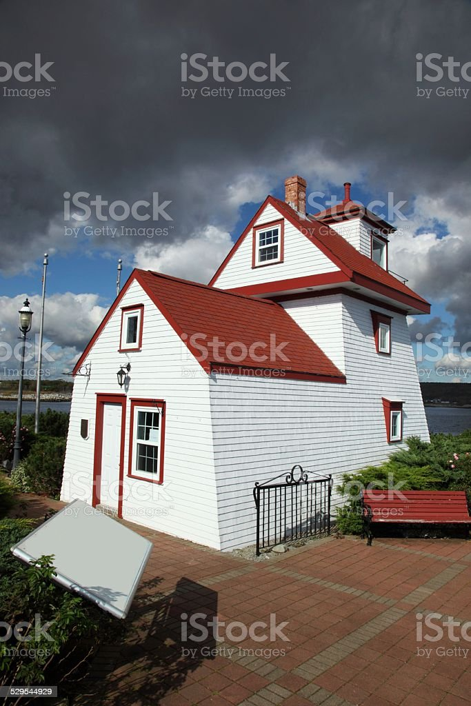 Fort Point Lighthouse located in Liverpool, Nova Scotia, Canada stock photo