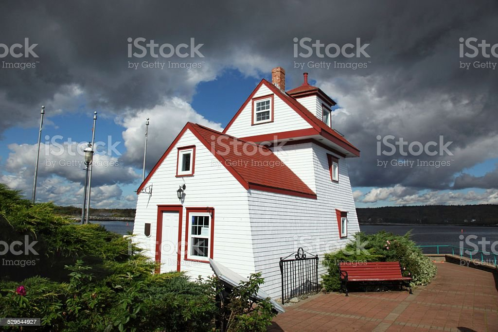 Fort Point Lighthouse located in Liverpool, Nova Scotia stock photo