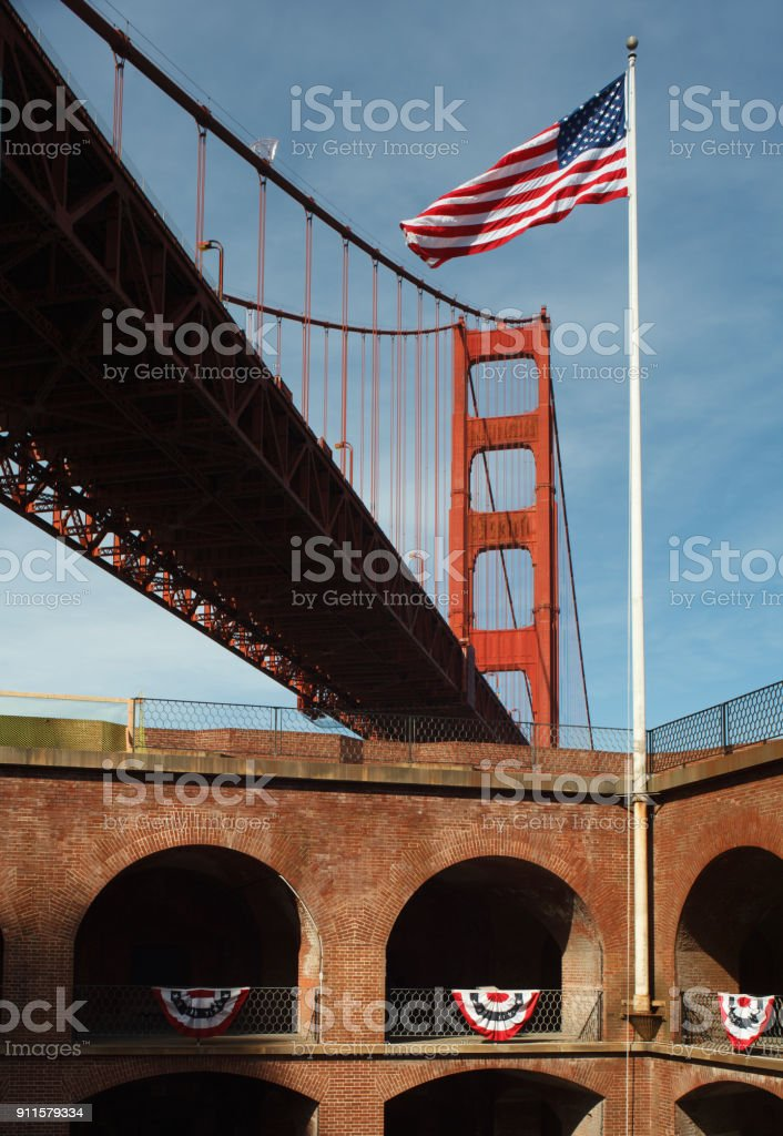 Fort Point, Old Glory and the Golden Gate Bridge stock photo