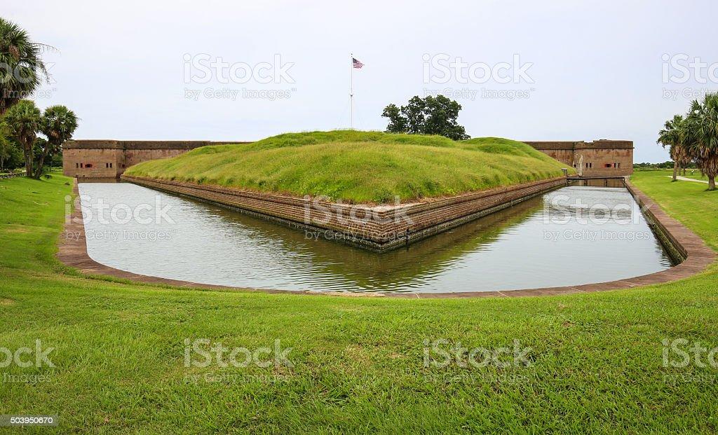 Fort Pulaski, Georgia. Outside moat area with grass. stock photo