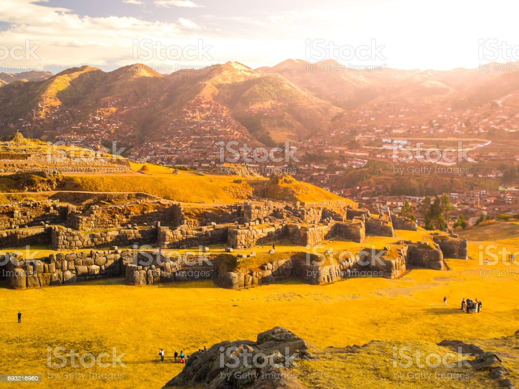 Fort Sacsayhuaman and Cuzco city on backgroudn on sunny day, Peru stock photo