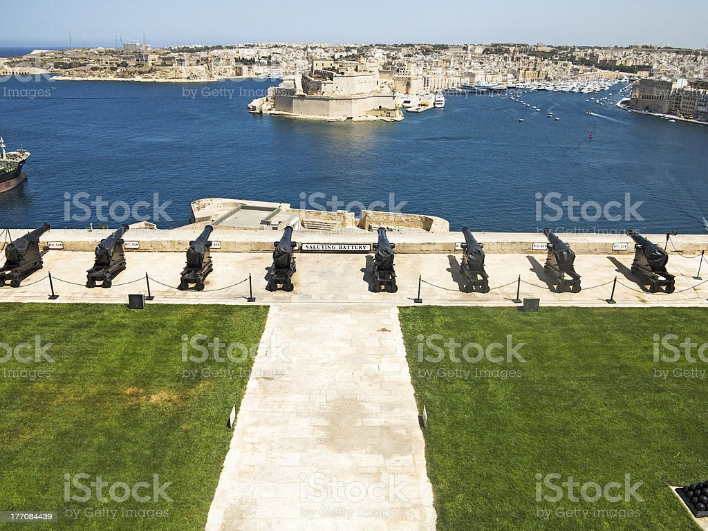 Fort Sant Angelo and guns of Valletta royalty-free stock photo