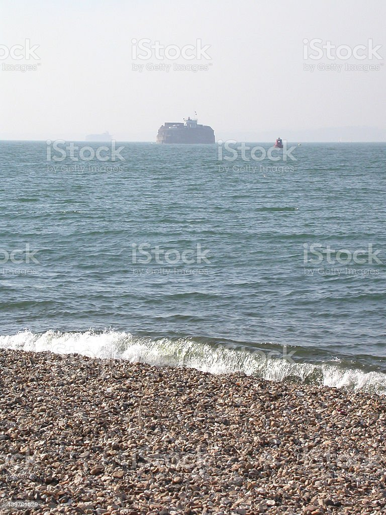 Fort seen from shingle beach stock photo