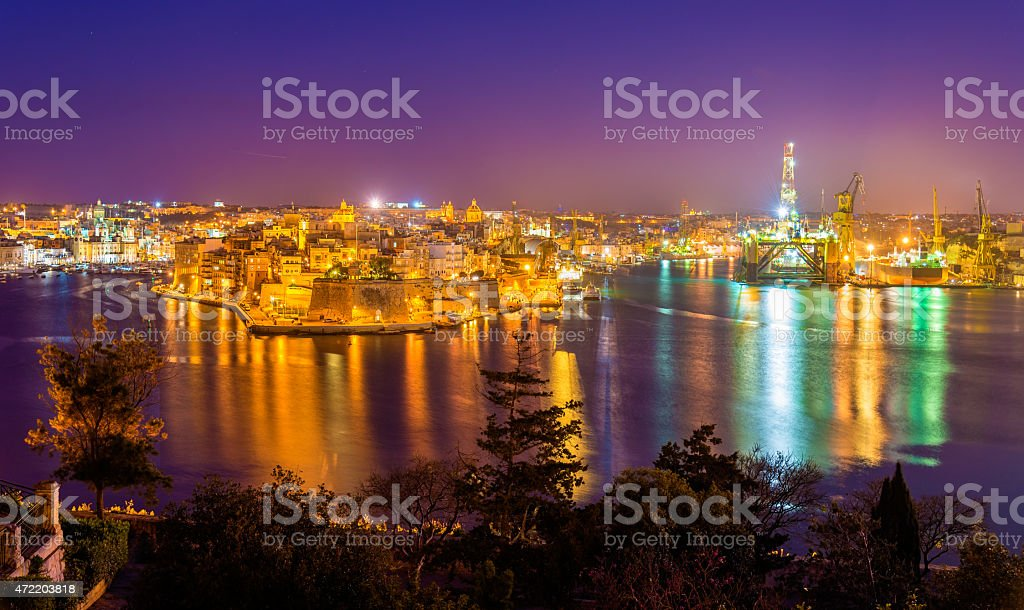 Fort St. Angelo and Dockyard Creek in Malta stock photo