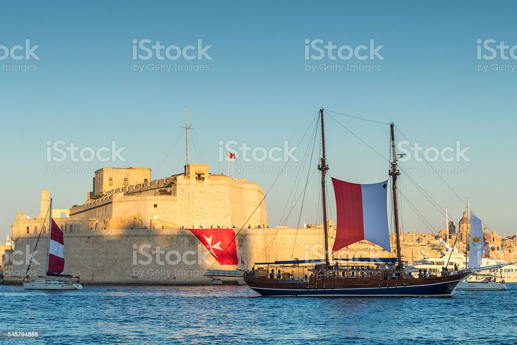 Fort St. Angelo and Sail ship, Grand Harbour, Birgu, Malta, stock photo