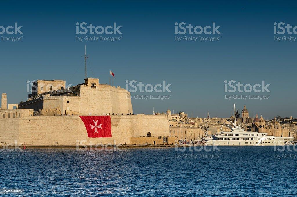 Fort St. Angelo and Super Yacht, Grand Harbour, Birgu, Malta, stock photo