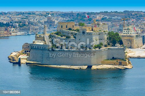View of Fort Saint Angelo in Birgu, Malta from Valletta, Malta, across the Grand Harbour of Malta.