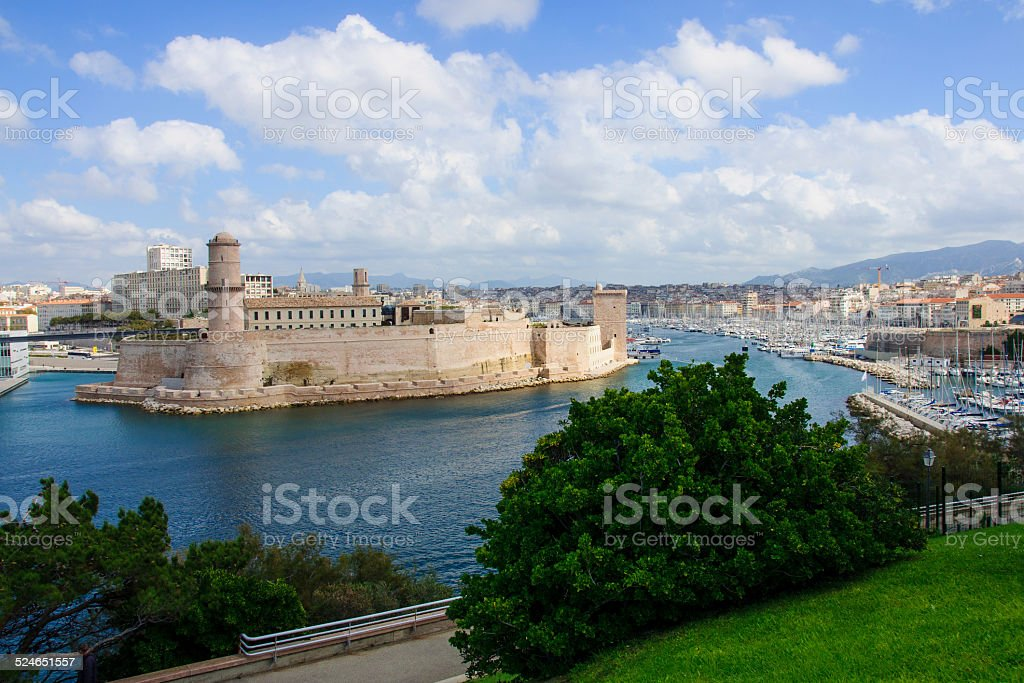 Fort St-Jean and the Vieux Port stock photo