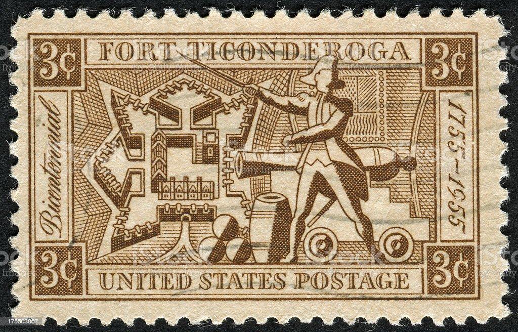Fort Ticonderoga Stamp stock photo
