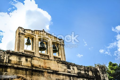 istock Fort Wall And Bells In Valetta, Malta 1144840207