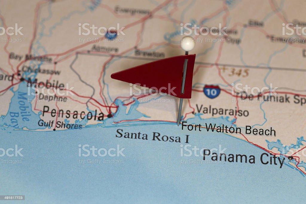 Map Of Fort Walton Beach Florida.Fort Walton Beach Fl Usa Cities On Map Series Stock Photo More