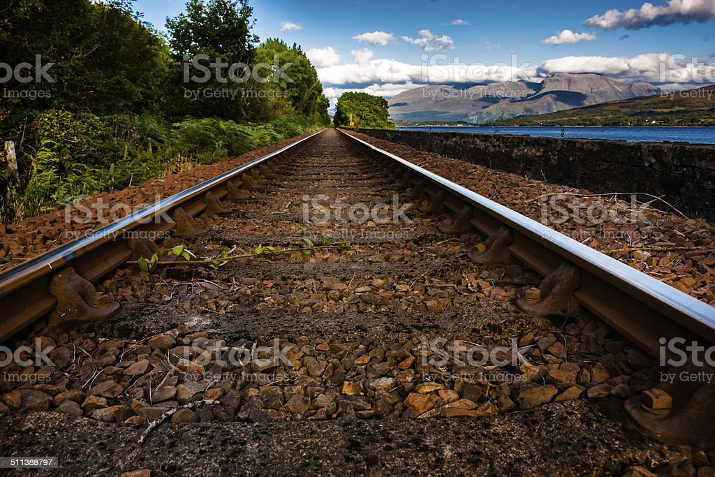 Fort William to Mallaig Railway and Ben Nevis stock photo