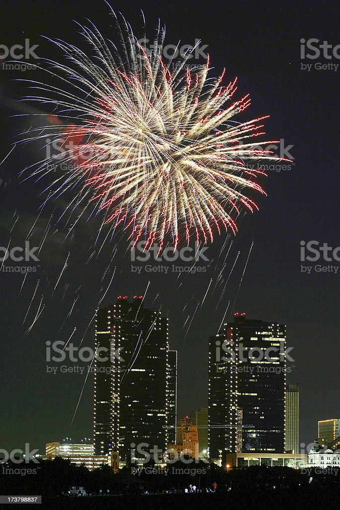 Fort Worth fireworks2 royalty-free stock photo