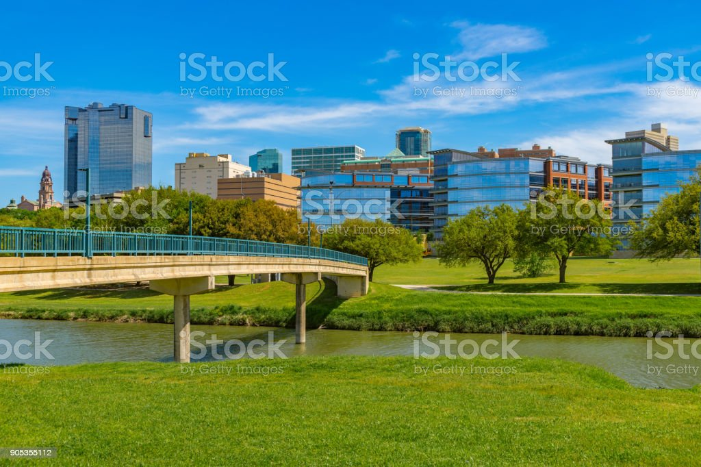 Fort Worth skyline cityscape with spring foliage,TX stock photo