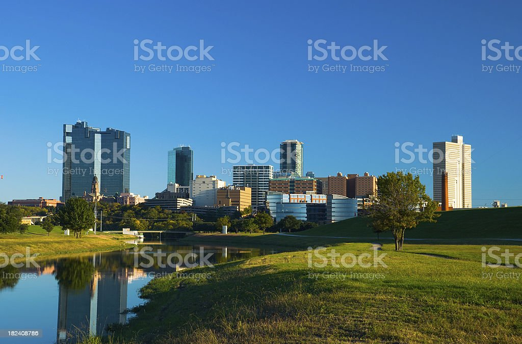 Fort Worth skyline, river, and park stock photo