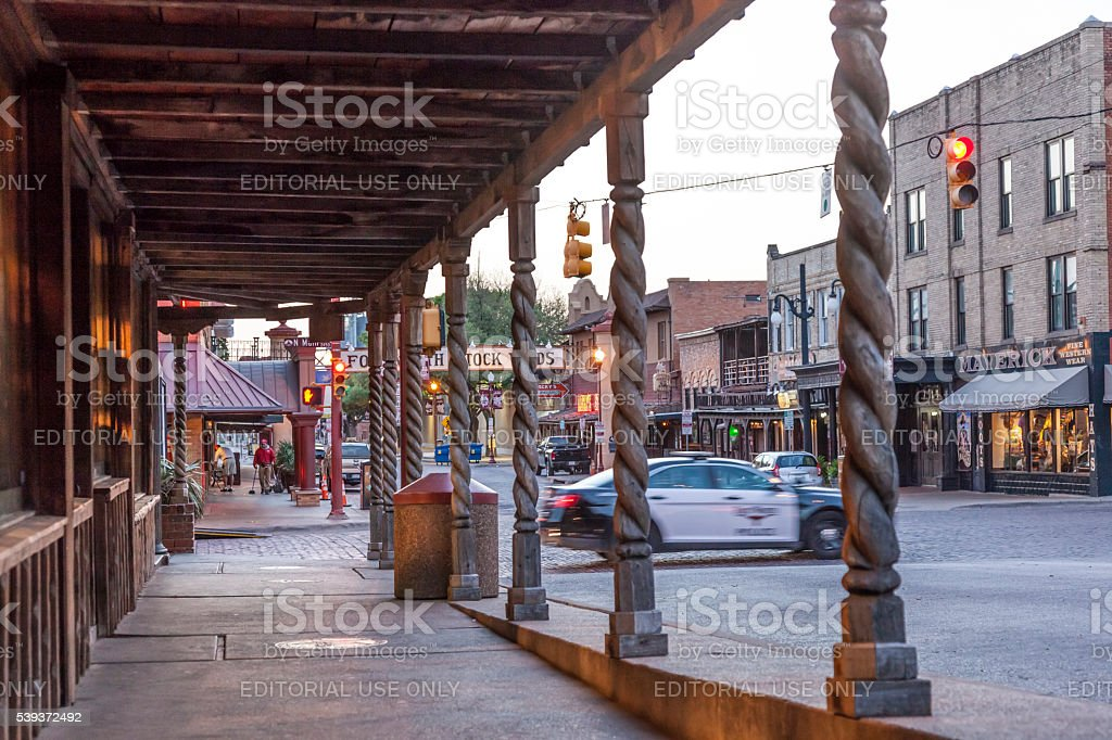 Fort Worth Stockyards at dusk.Texas, USA stock photo