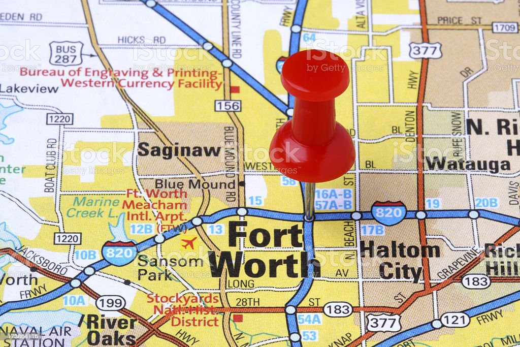 Fort Worth Texas On A Map Stock Photo & More Pictures of City | iStock