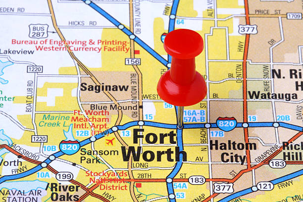 Royalty Free Fort Worth Texas Map Town Pictures, Images and Stock ...