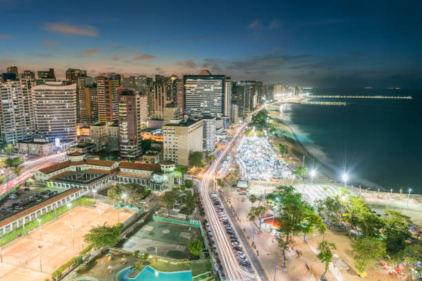 Fortaleza at Night, Brazil stock photo