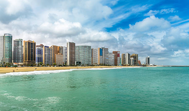 Fortaleza Beach with tall buildings in Ceara state, Brazil stock photo