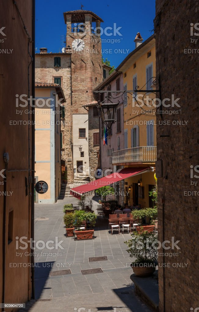 Fortebraccio Square in Montone, Umbria stock photo