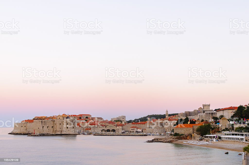 Fortefied medieval city of Dubrovnik, Croatia at dawn. royalty-free stock photo
