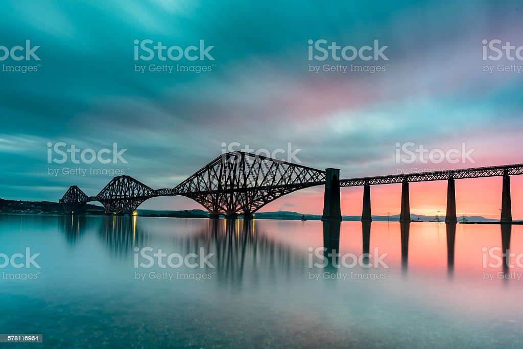 Forth Bridge at Sunrise stock photo
